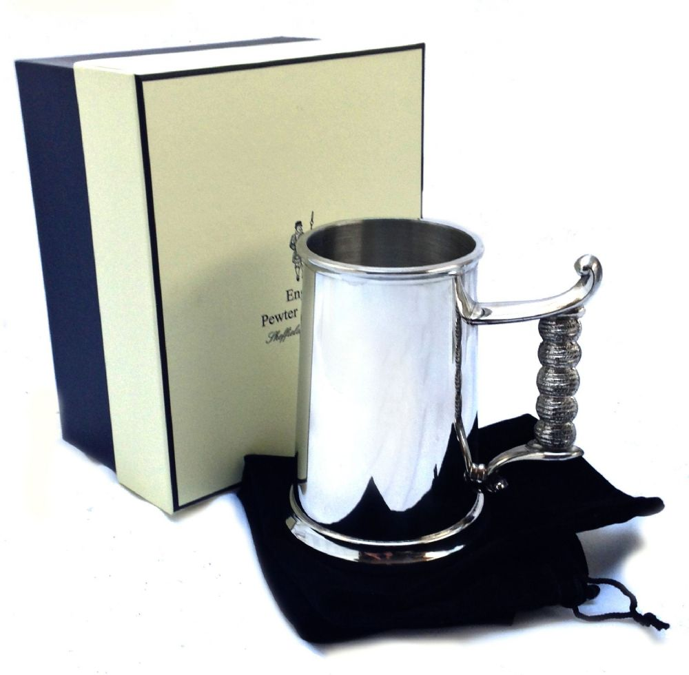 Kings Shilling British Pewter Pint Beer Tankard  Glass Bottom with Replica Coin